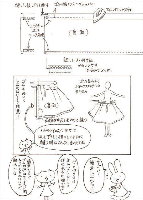 お人形服 型紙・制作服講座,ゴムスカート2