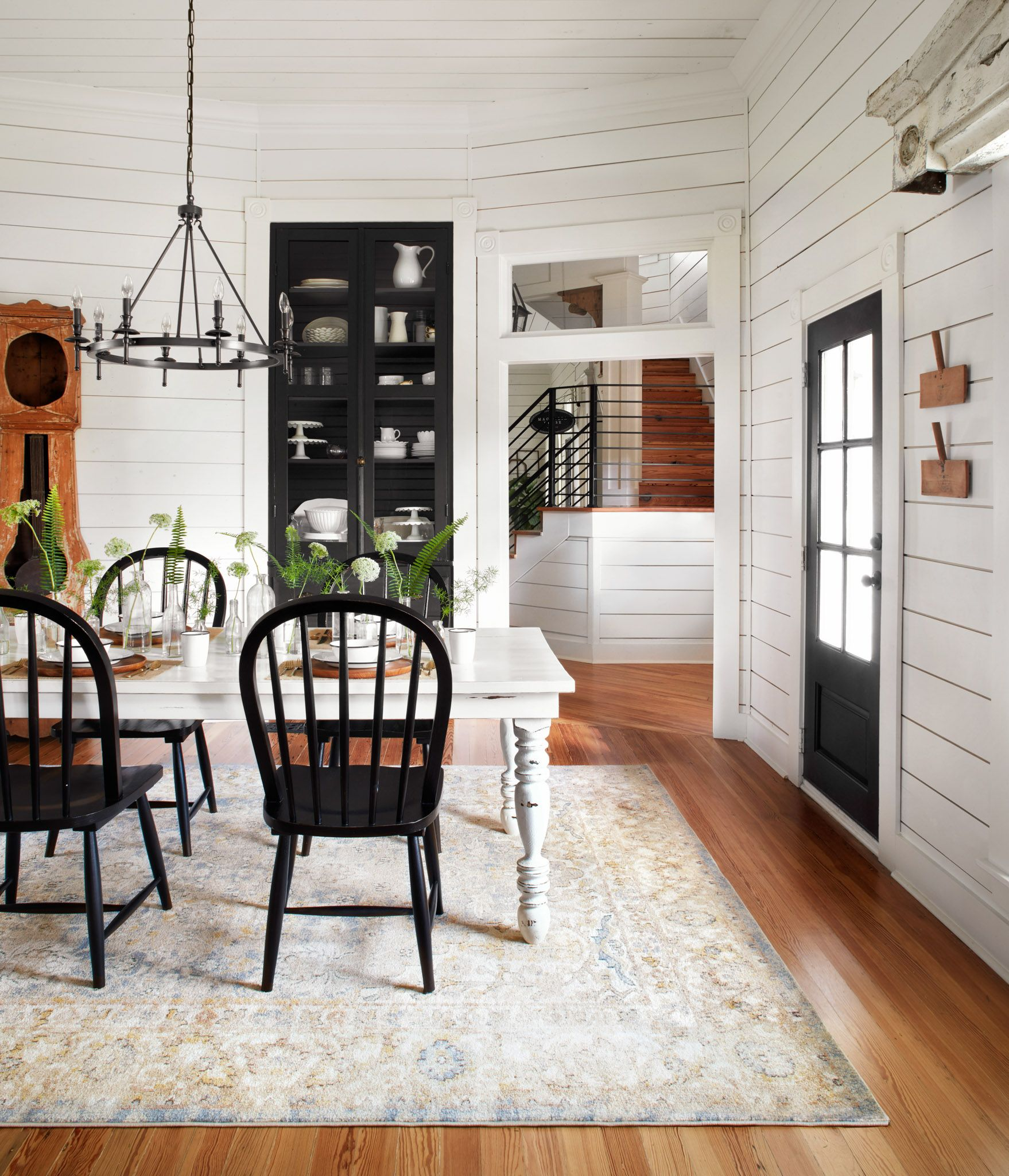 Id Go With Matching Color Table And Chairs Maybe Like The Contrast But Seems A Farmhouse Dining Room Set Modern Farmhouse Dining Modern Farmhouse Dining Room