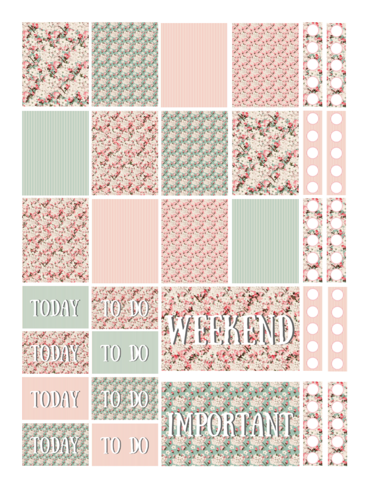 Free Printable Vintage Cherry Blossoms Planner Stickers Png Free Printable Planner Stickers Happy Planner Printable Stickers Printable Planner