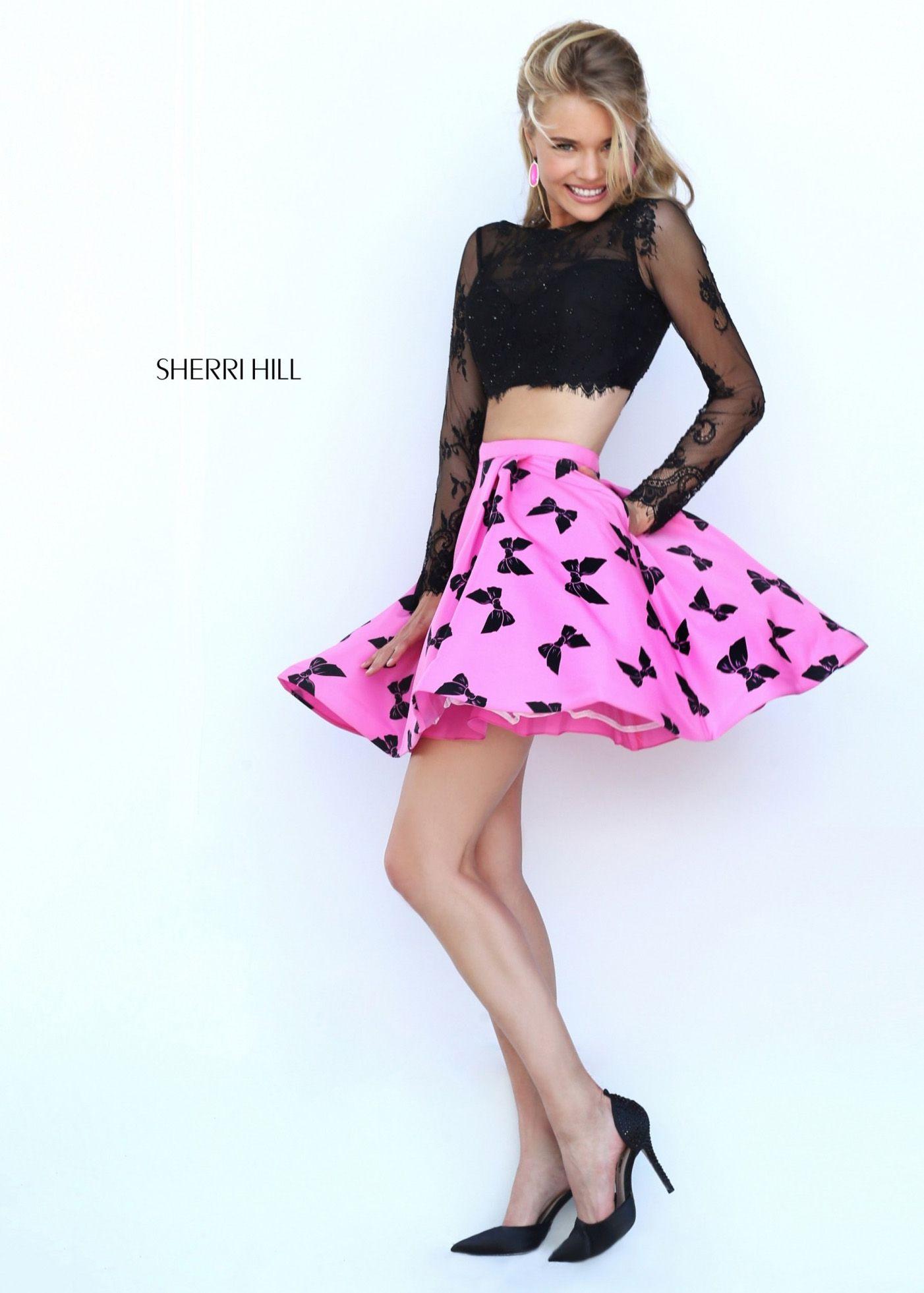 Black Pink Bow Printed Low-cut V Back Crop Top Sherri Hill 50460 ...