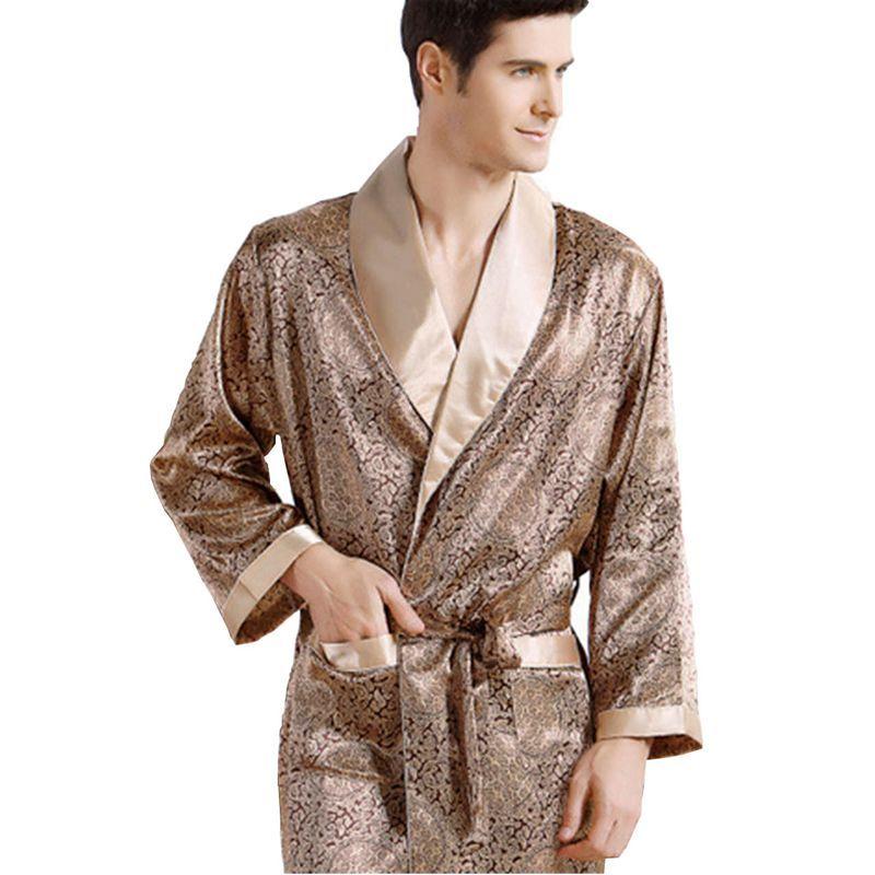 a5f73f8e30 Luxury Men s Silk Satin Pajama Print V-Neck long-sleeved Plus Size Pyjamas  Robes Bathrobe Nightgown