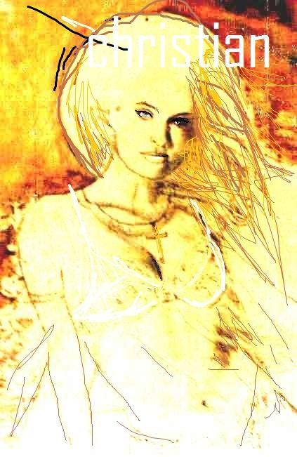 Farm Girl. Digital Manipulation of 1995 Mixed Media on canvas.