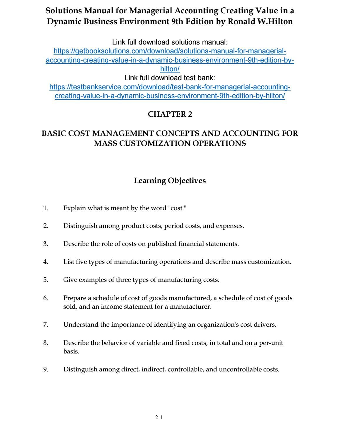 Solutions Manual For Managerial Accounting Creating Value In A