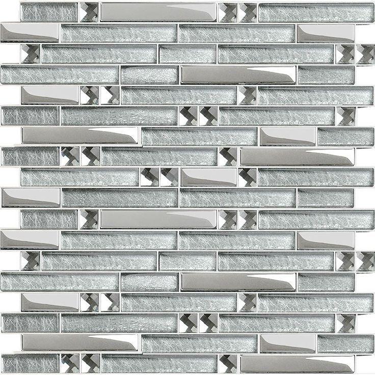 Wholesale Crystal Glass Tile Mosaic sticker silver diamond ...