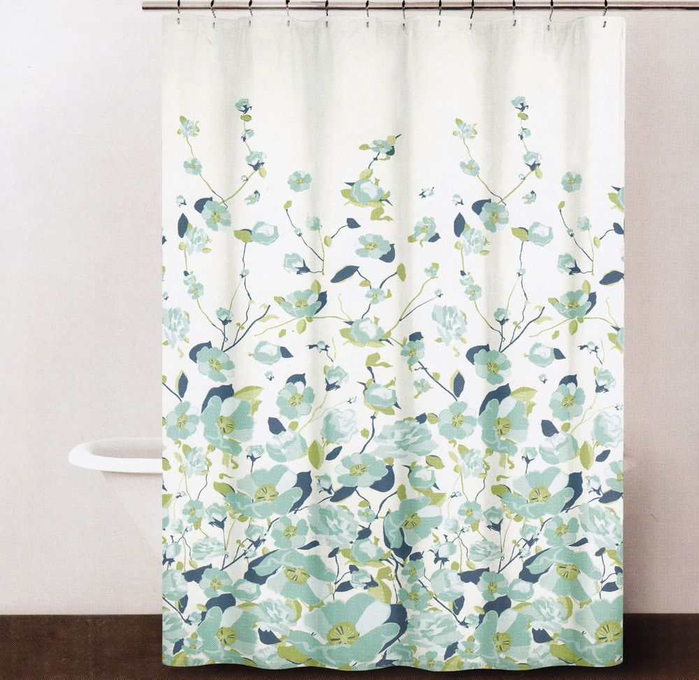 Dkny Cotton Fabric Shower Curtain Border Print Falling Petals Aqua