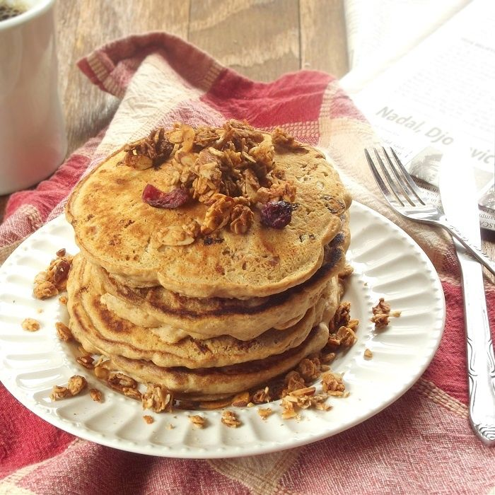 These fluffy vegan pancakes are filled with crunchy granola, for an extra hearty and flavorful breakfast.