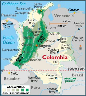 Map of colombia andes mountains on the map in green maps of map of colombia andes mountains on the map in green gumiabroncs