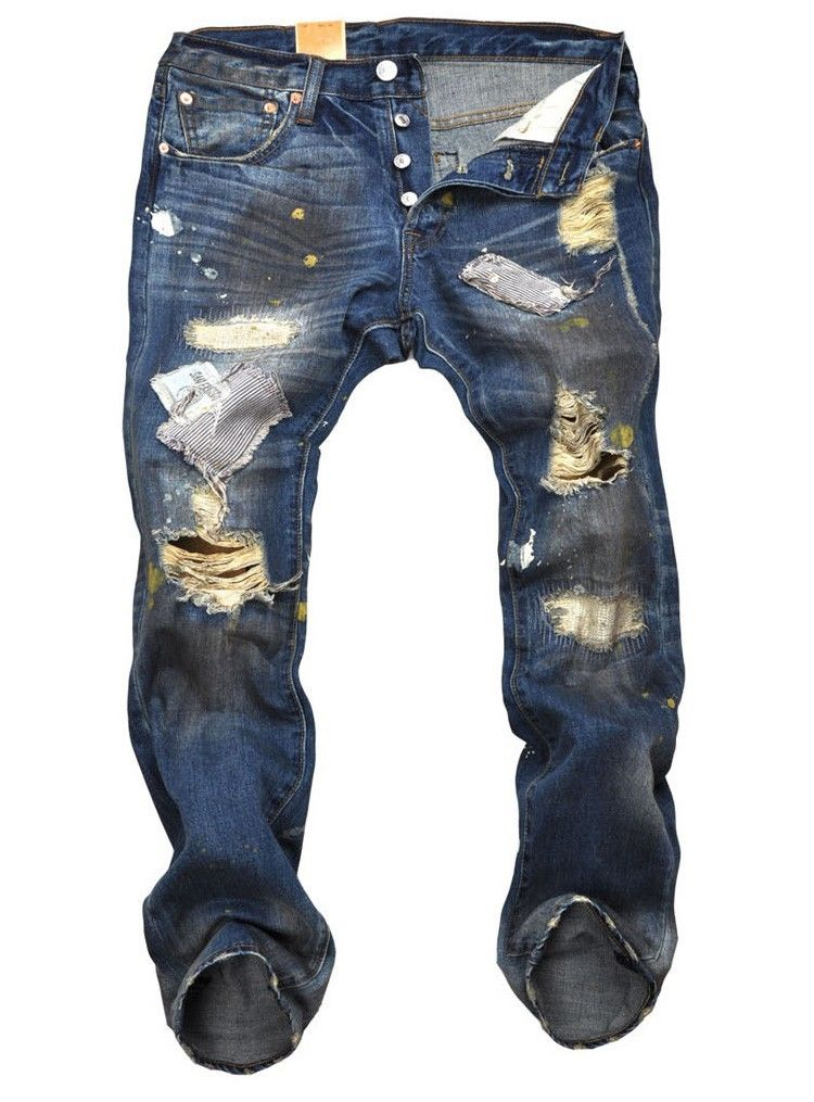 4be4976e3ba Fashion personality jeans for men holes paint patch button fly denim jeans  cool dirty jeans brand beggar pants