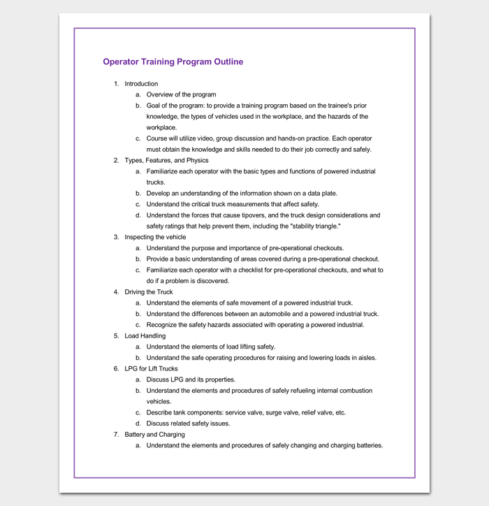 training program outline example for word outline templates
