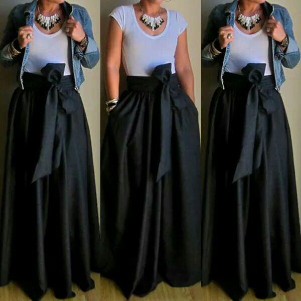 Belt Design Black Pocket Design Maxi #Skirt Get it>>>http://goo.gl/Ces5Q9 More:http://goo.gl/Em1YEx #Freeshipping