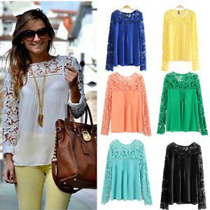 Details about Fashion Womens Chiffon Long Sleeve Blouse Sexy Lace ...