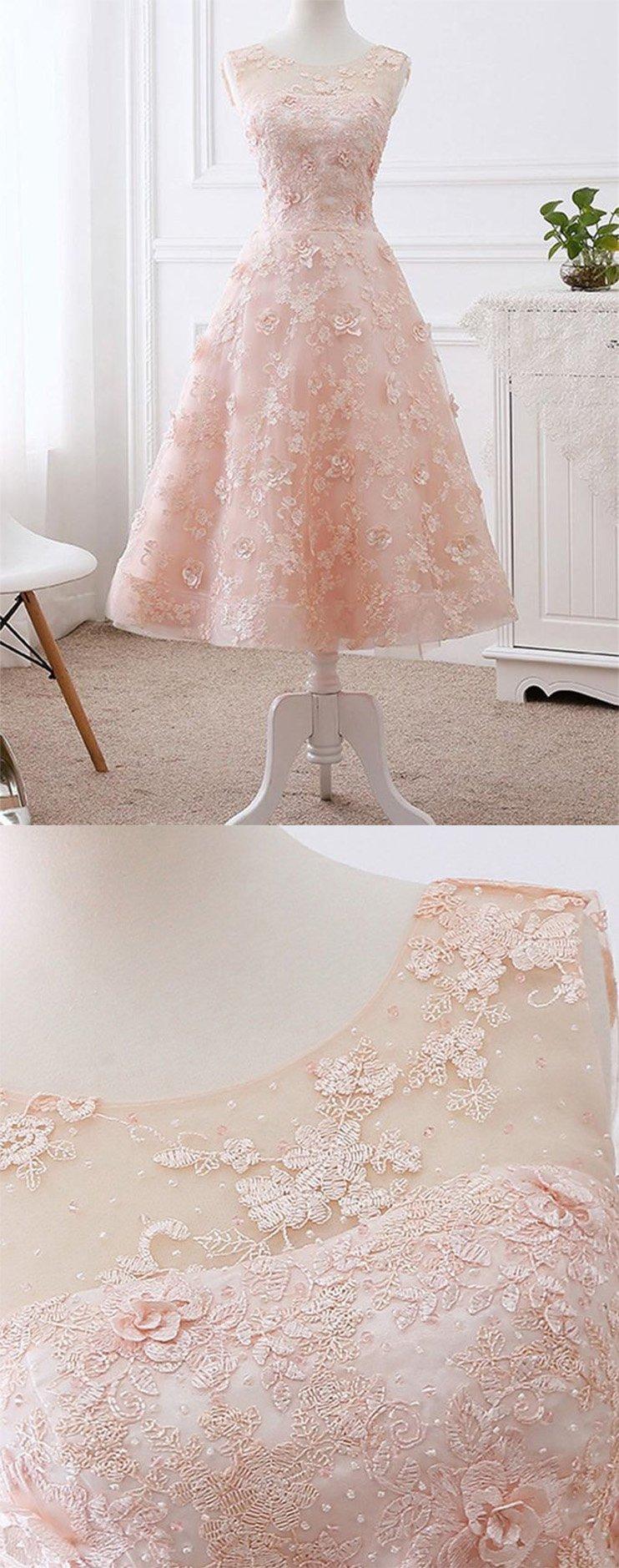 Elegant aline scoop neck tea length lace pink short prom dresses