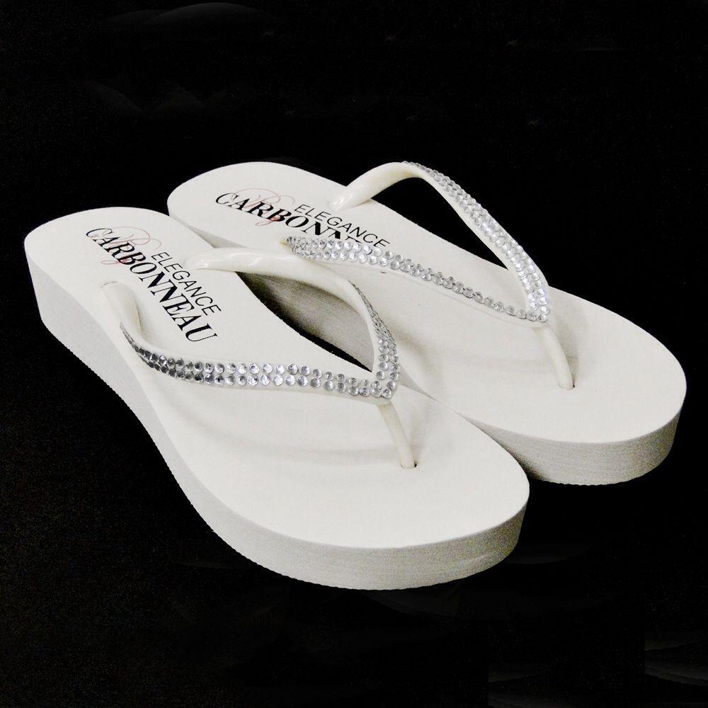 94b7d5caf Sunshine Bridal Flip Flop shoes 1 1 2 inch heel white