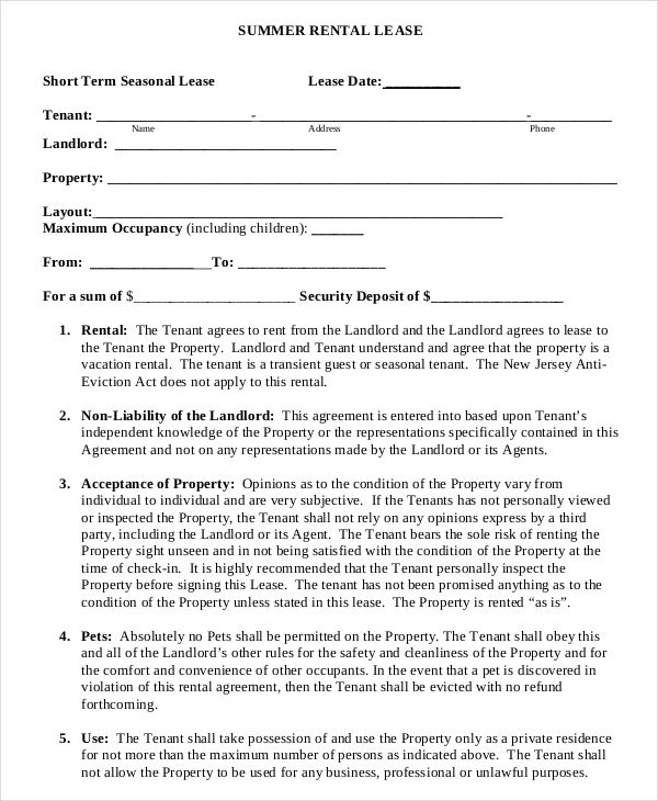 Summer Short Term Rental Lease Agreement Example Template Download ...