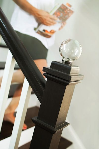 Best Custom Stair Post With Glass Globe Finial Newel Post 640 x 480