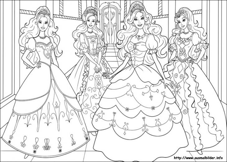 Beautiful barbie princesses coloring page for little girls