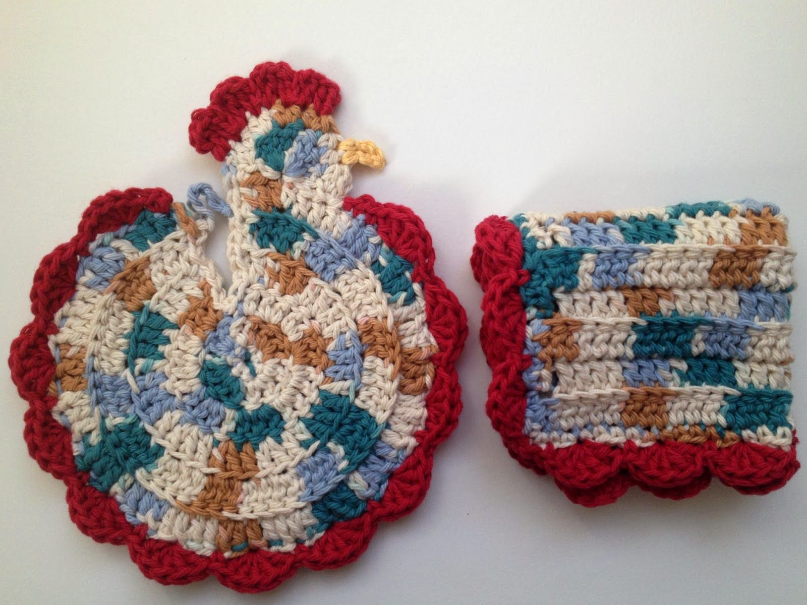 Free Pattern: Crochet Chicken Pot Holder & Dishrag #crochet ...