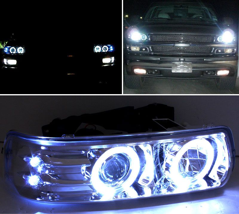 99 02 Chevy Silverado Tahoe Suburban Angel Eye Halo Led Projector Headlights Black Classic Trucks Chevrolet Tahoe Chevy