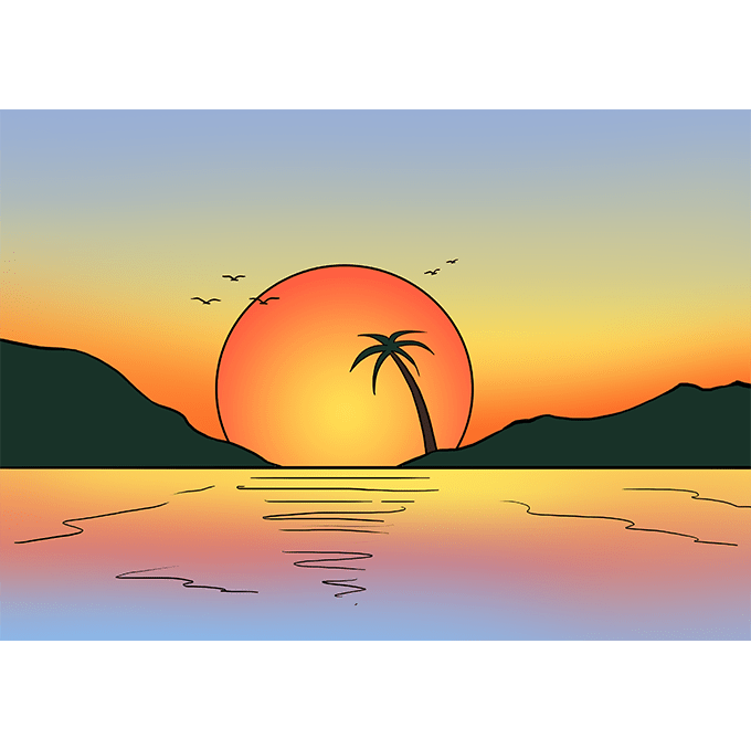 How To Draw A Sunset Really Easy Drawing Tutorial Summer Drawings Drawing Sunset Easy Nature Drawings