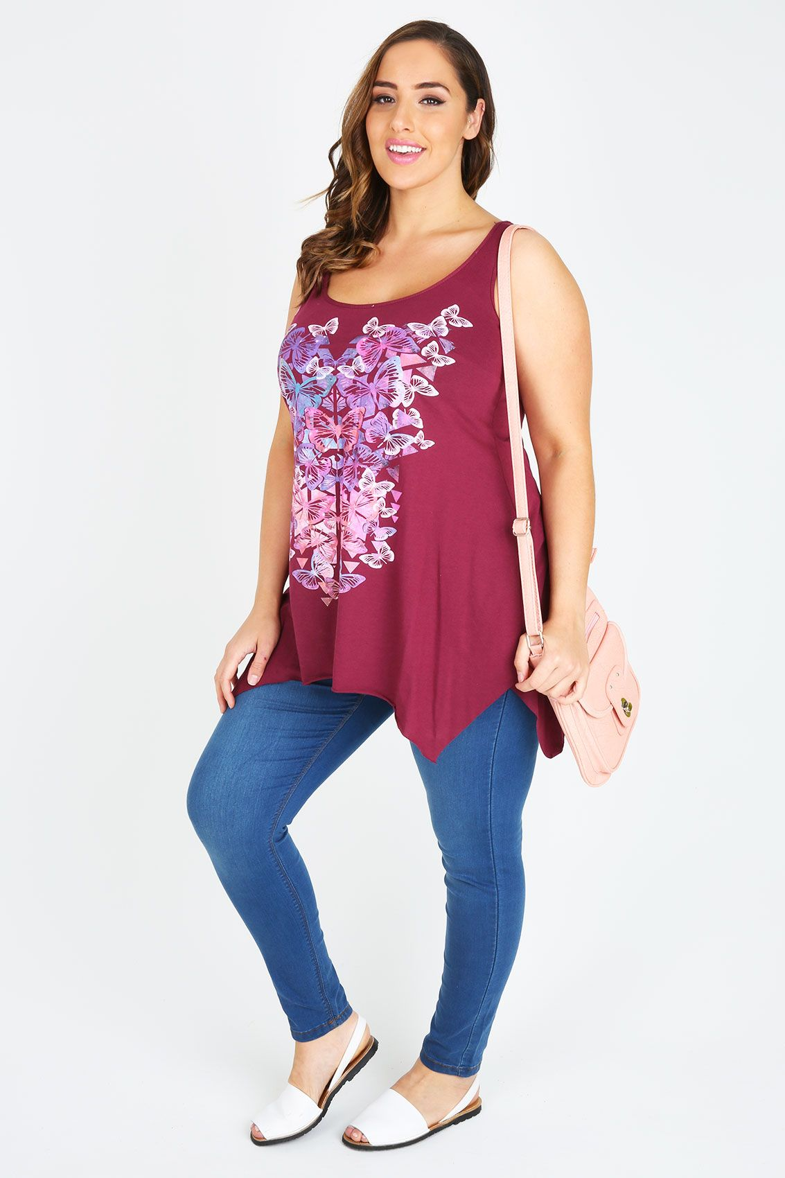 Maroon Sleeveless Top With Butterfly Placement Print