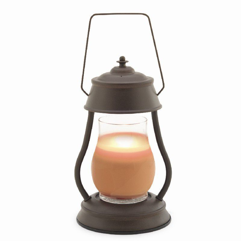 Candle Warmers Hurricane Lantern Combo Pack - Rustic Brown - Vanilla Cinnamon