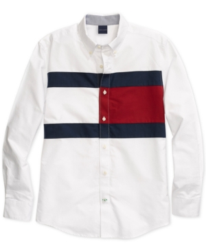 b46b6a4e Tommy Hilfiger Adaptive Men's New England Tommy Flag Shirt with Magnetic  Buttons - White XXL