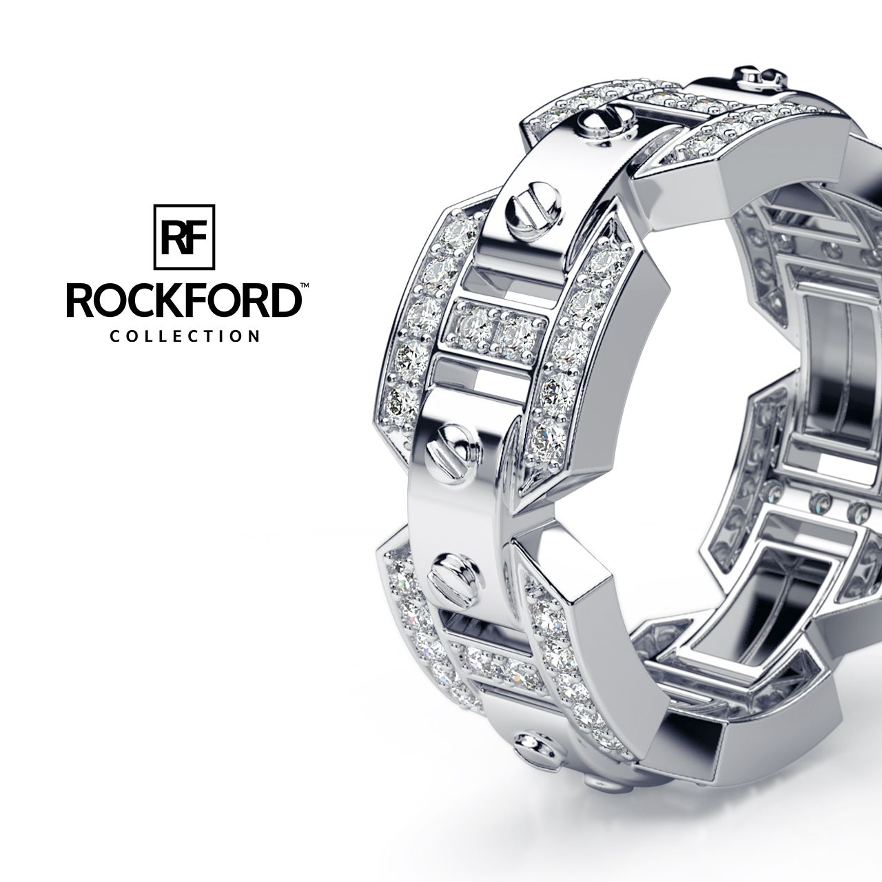 Rockford Collection Where Luxury Meets Art Briggs Gold Mens Wedding Band With Flawless Diamonds At Www Rockfordcollection Worldwide Shipping