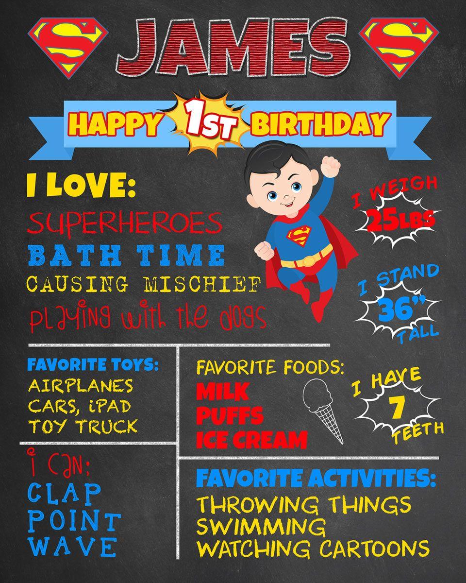 Super Hero Vintage First Birthday Chalkboard Poster-  Batman Spiderman Boy Birthday Poster Printable Photo Prop Superman Poster Sign
