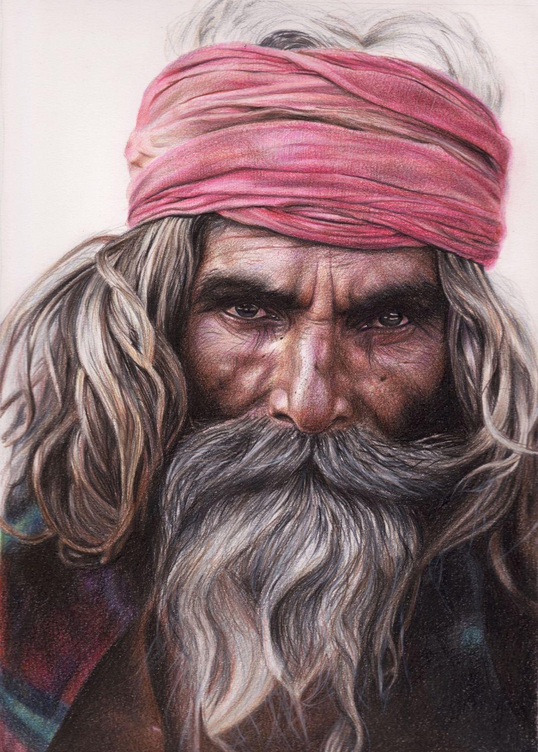 L'indiano. Crayons drawing. Chiara Fabbri