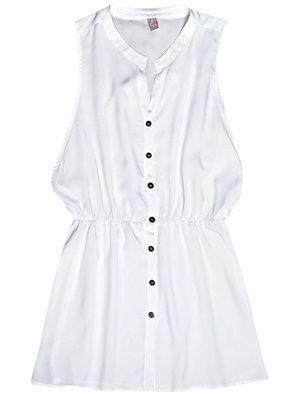 Saída de praia em tecido de viscose com modelagem chemise na cor branco em  tamanho P. Que a modelagem chemise deixa todo look elegante e feminino não  há ... f92d29d58ee