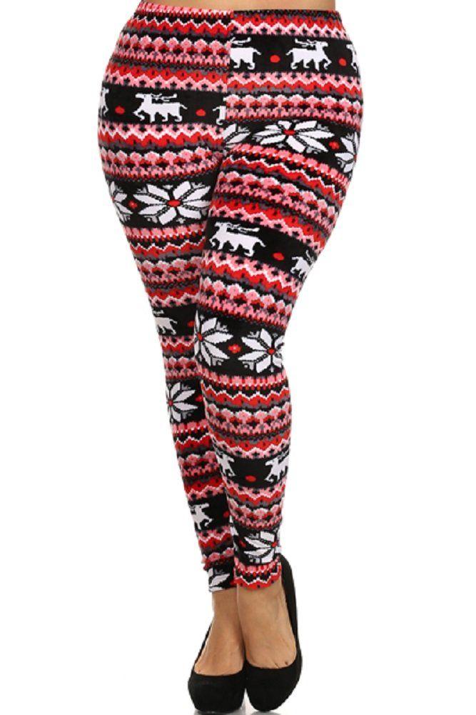 Women's Plus Size Velour Mono Reindeer Nordic Aztec Tribal Print Fashion Leggings