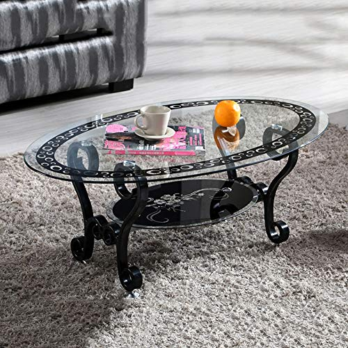 Feifei Tempered Glass Coffee Table Oval Living Room Table Room