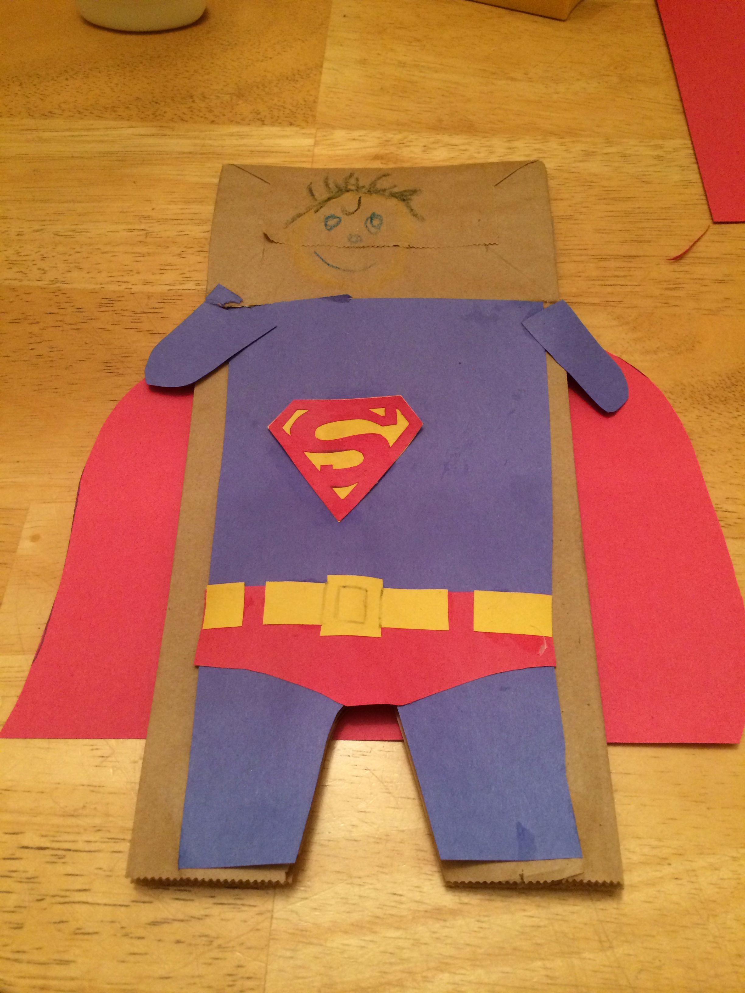 Brown Paper Bag Puppet Superman! Paper bag puppets