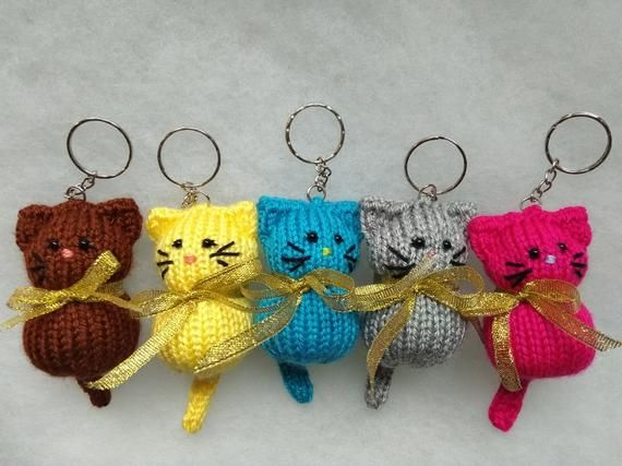 Cat Keychain Ring, Stuffed Knitted Toy, Bag Pendant, Knitted Cat, Keychain Ring, Mini Toy #knittedtoys