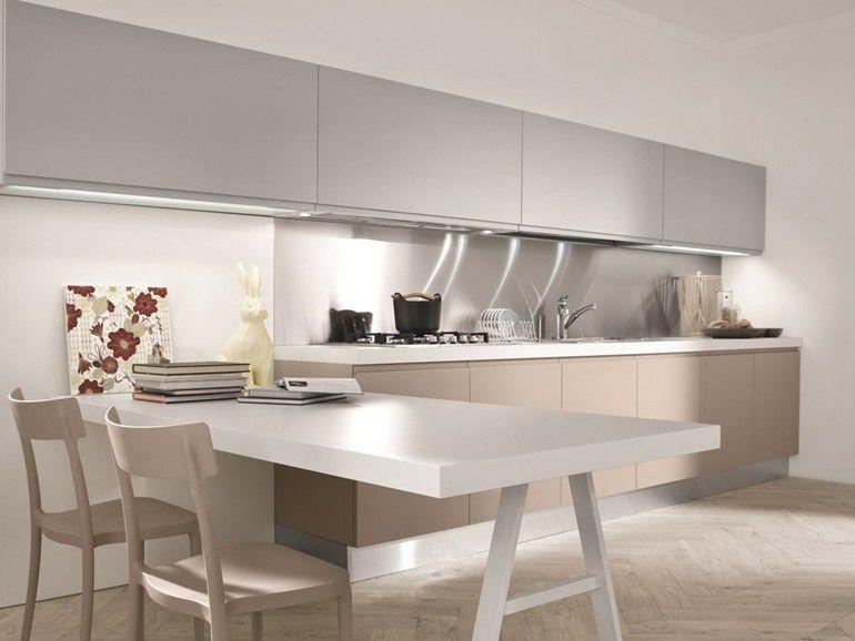 cozinha com pen nsula sem puxadores masca laccata cole o contemporary by aran cucine ideias. Black Bedroom Furniture Sets. Home Design Ideas