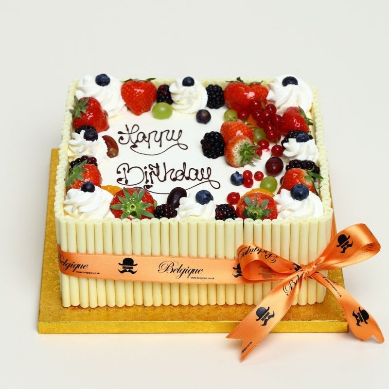 Fresh Cream Fresh Fruit Square Gateau With Mixed Chocolate Decorations Chocolate Cake Decoration Cake Decorated With Fruit Fruit Birthday Cake