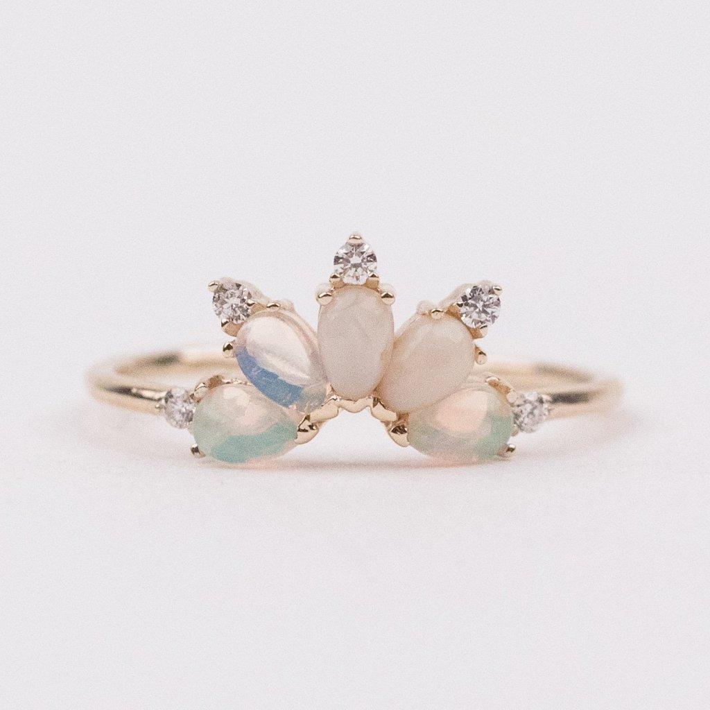 14K Gold Diamond & Opal Parisian Butterfly Ring Opal