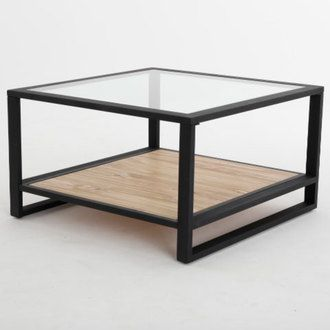 Table Basse Carree En Fer Et Pin L70cm Avec Plateau En Verre Boston Table Basse Table Basse Carree Et Table Basse Fer