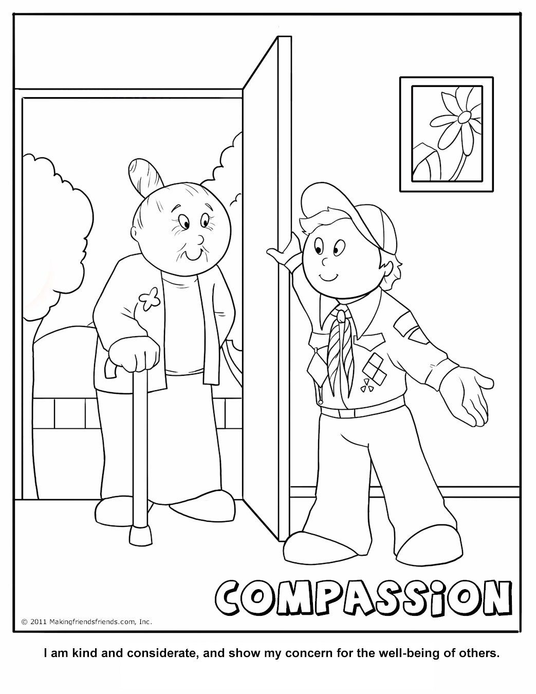 Compassion Coloring Page A Cub Scouting Core Value Ideas for