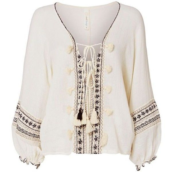 coolchange Women's Embroidered Lace-Up Caftan found on Polyvore featuring  tops, tunics, cotton