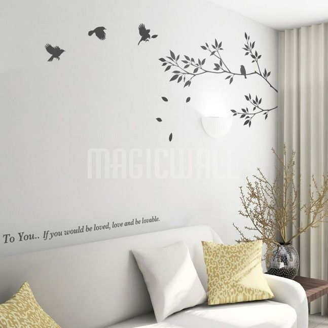Tree Branch With Birds - Wall Decals Stickers & Tree Branch With Birds - Wall Decals Stickers | wall paint ...