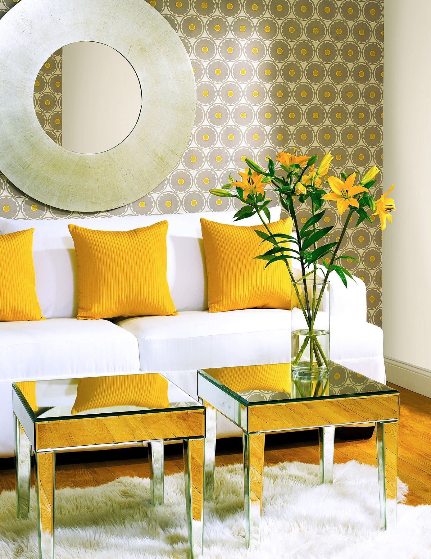 A retro mod wallpaper feature wall yellow and grey decor
