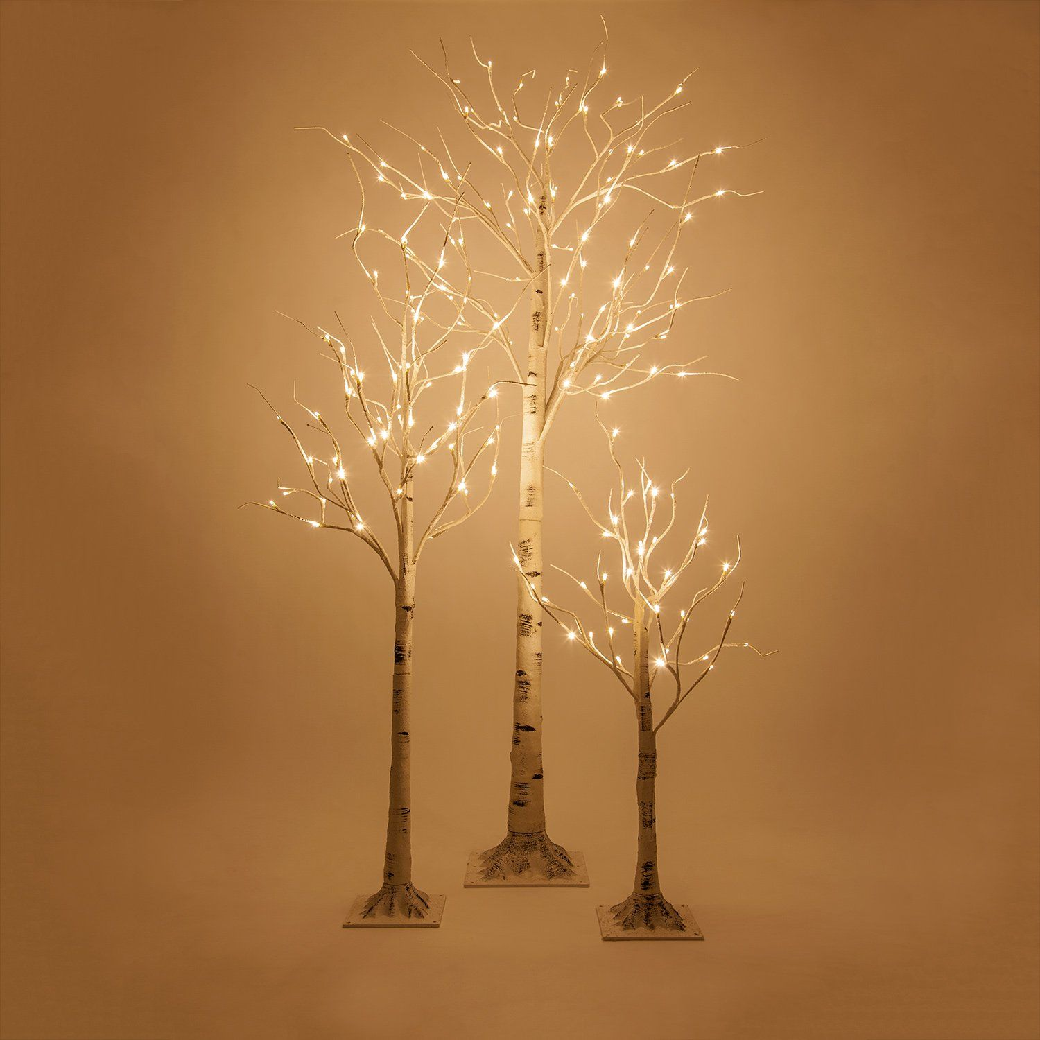 5 Ft LED White Birch Twig Tree Light, 60 Warm White LED
