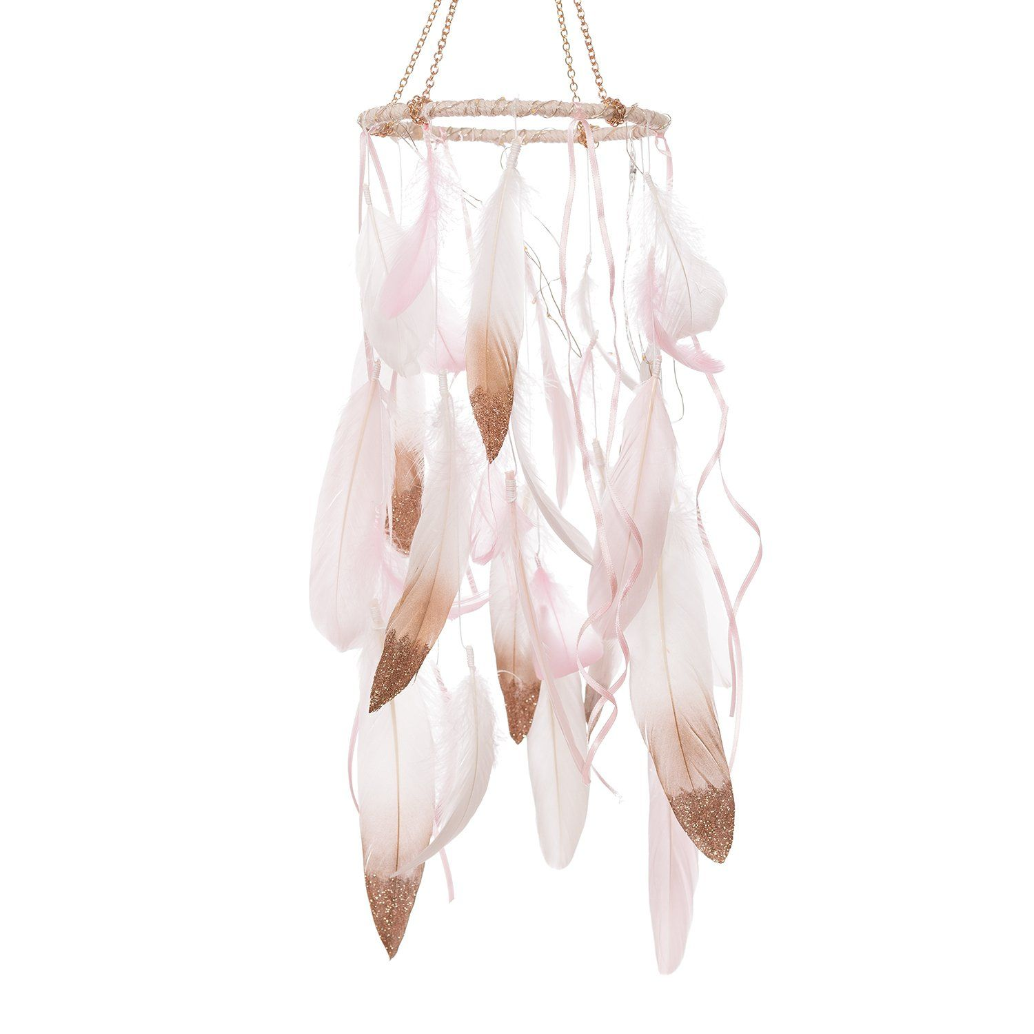 Lings Moment Feather Dream Catcher Mobile Led Fairy Lights Battery Ed Hanging Ornaments With Gold Dipped