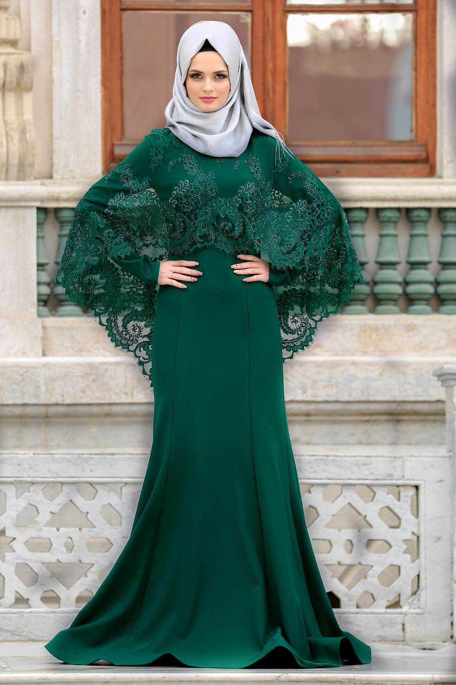 47e90903b420 Neva Style - Green Hijab Evening Dress 43910Y in 2019   islam ...