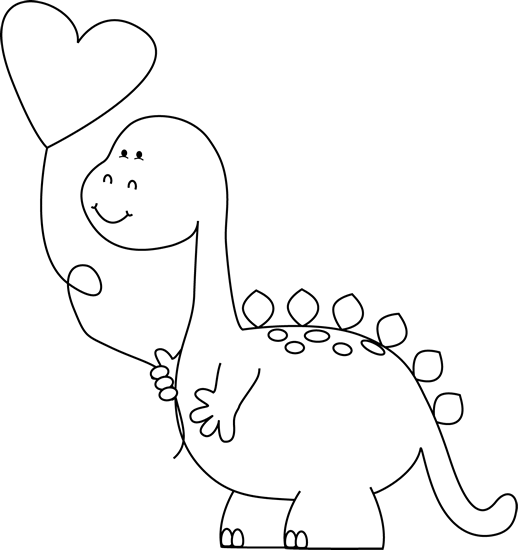 Black and White Valentine Dinosaur with Balloon | Valentines Day ...