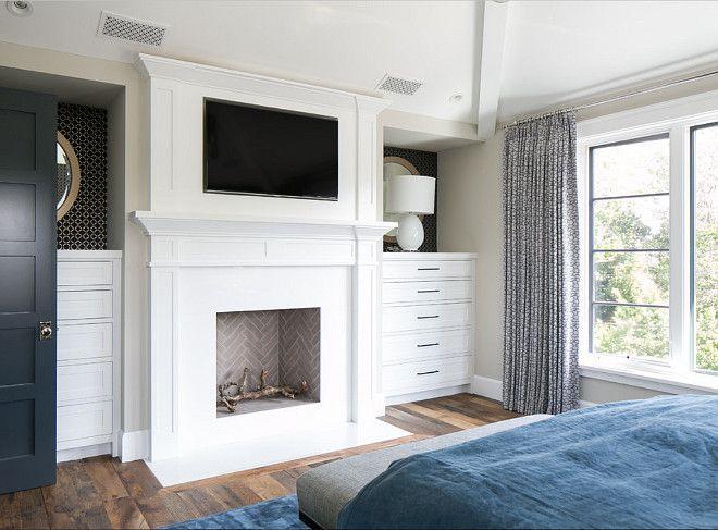 Bedroom Fireplace With TV Above Mantel. #Bedroom #Fireplace #TV Brooke  Wagner Design