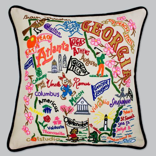 Catstudio State Pillow of Georgia is handmade. All of the state embroidered  pillows by Catstudio are natural cotton.