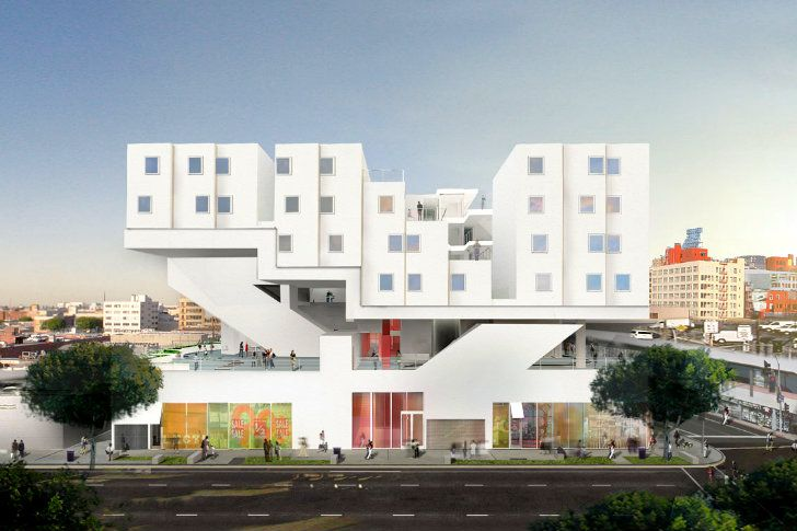 Michael Maltzan S Prefab Star Apartments Are Currently Rising In Downtown La Homeless Housing Modular Building Prefab Homes