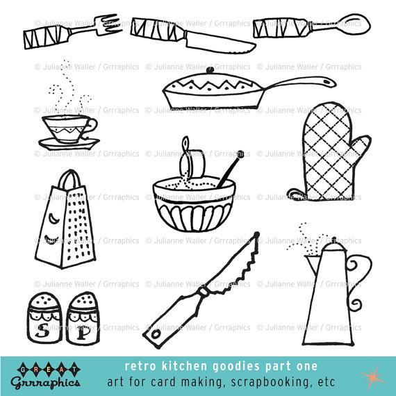 Retro Kitchen Goodies Black and White Clipart: Pots, pans ...
